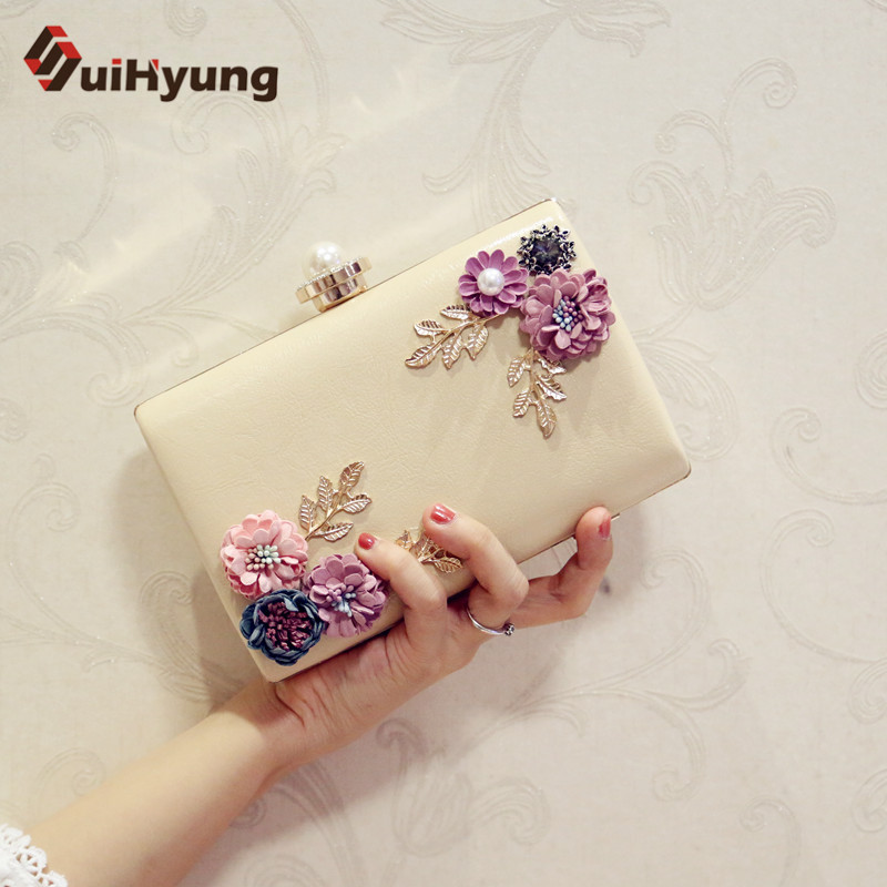 Suihyung Women PU Leather Handbag Casual Clutch Bags Purse Ladies Party Evening Bag With Flowers Wedding Pearl Clutch Bag Bolsas luxury gold silver evening purse women pink pu leather pearl hand bag chain shoulder clutch bags handbag bolso handtassen xa841h