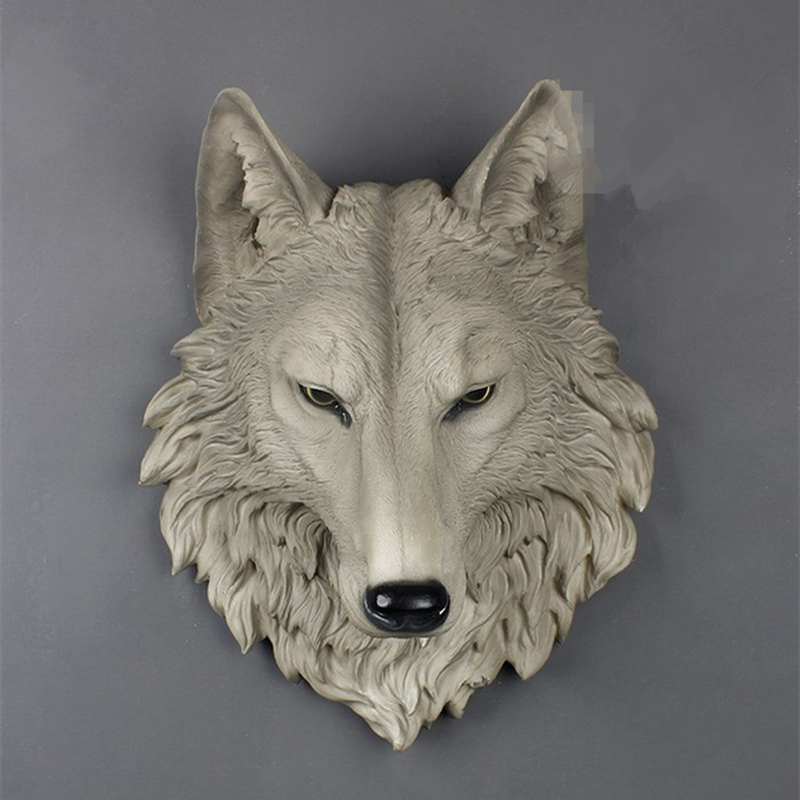 Large Size Wolf Head Wall decoration Hanging Wall Animal Head Resin Pendant Resin Wall Ornaments Home Accessories, Best Gift cabeza de animales de resina