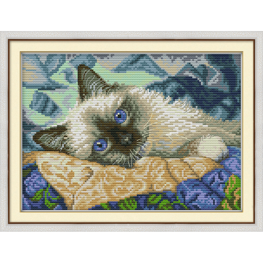 Joy Sunday The blue eyes cat Chinese cross stitch kits Ecological cotton stamped printed 14 11CT DIY wedding decoration for home