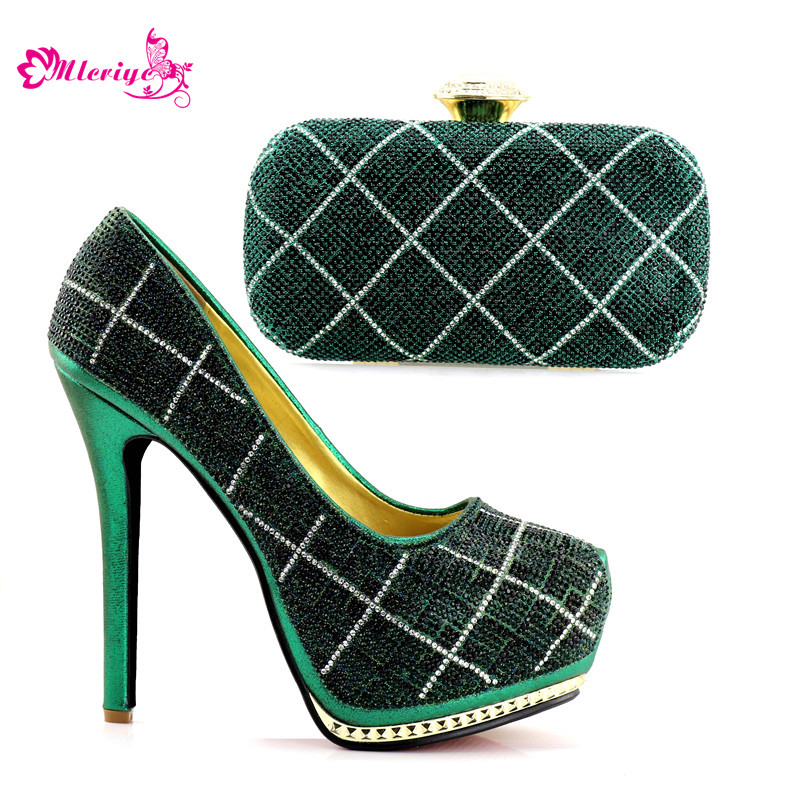 Latest Design Italian Shoes with Matching Bags for Women Nigerian Women Wedding Shoes and Bag Set Decorated with Rhinestone