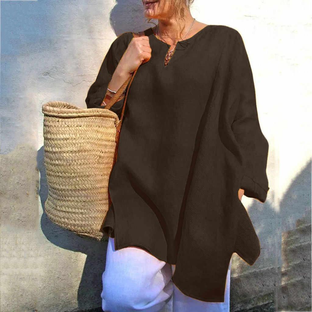 BlusasMujerデモーダ2019女性のブラウスシャツプラスサイズの女性のカジュアルだぶだぶ長袖シャツ夏リネンビーチチュニックブラウス