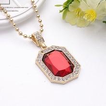 6 Colors Precious Stone Pendant Choker Necklace Women Men Tide Brand Hip Hop Gold Chian Necklaces Pendants Hiphop Jewelry