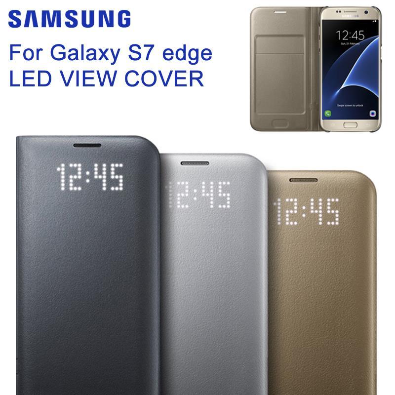 SAMSUNG Original Samsung LED ver Smart Cover teléfono caso para Samsung GALAXY S7 borde G9350 S7 G9300 G930A/V g935F Slim Flip Case