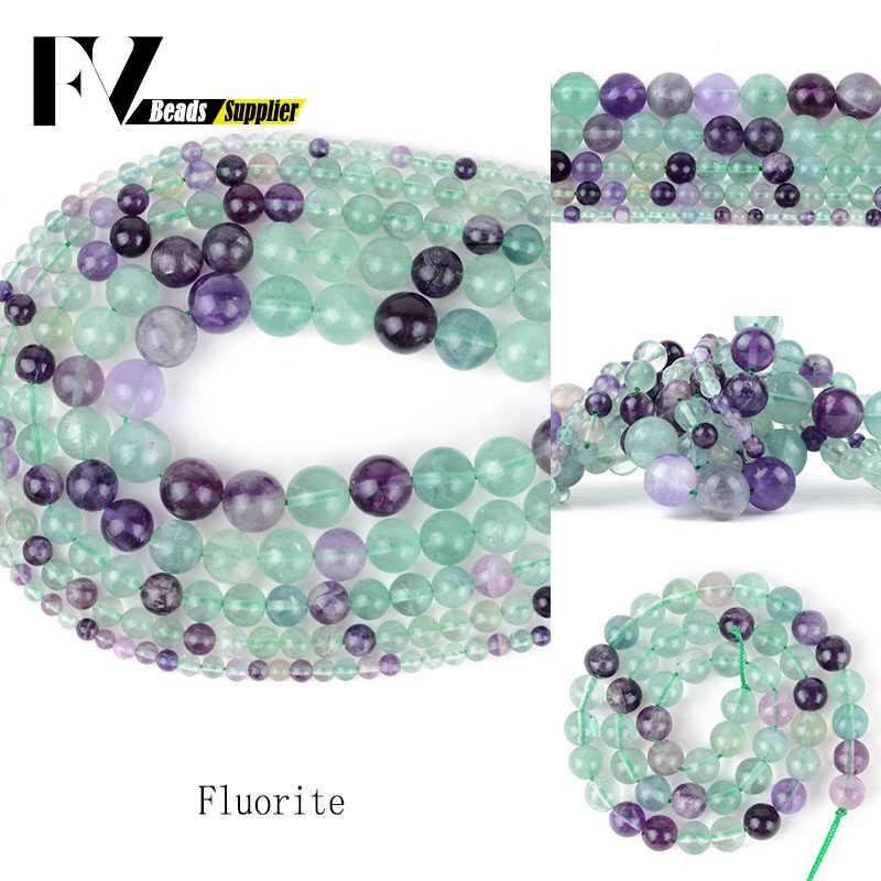 טבעי אבן חרוזים אביזרי 4mm-12mm אמזונייט גרנט Flourite לבה אבן חרוזים להכנת תכשיטים נשים צמידים שרשראות