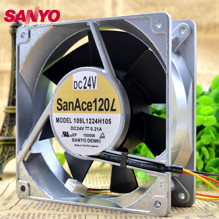 SANYO  Brand new original inverter cooling fan fan 109L1224H105 24V Server 120*120*38Mmm original delta afc1212de 12038 12cm 120mm dc 12v 1 6a pwm ball fan thermostat inverter server cooling fan