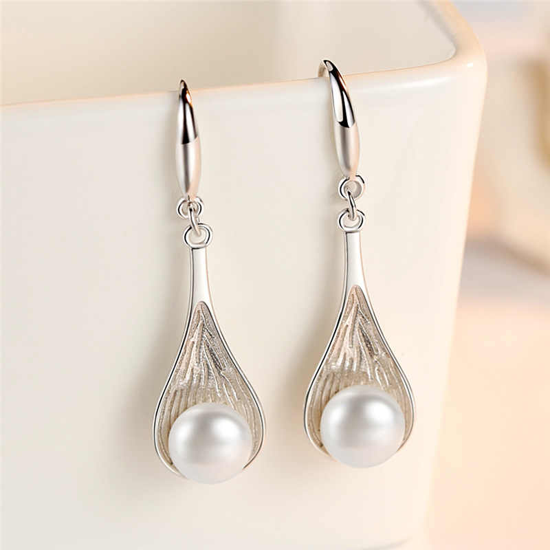 Classic 925 sterling silverPearl Stud Earring Sweet Earrings For Women Prom korea Jewelry 2019 kolczyki oorbellen pendientes