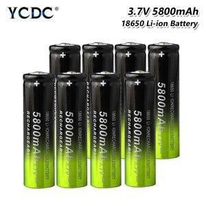 1/2/4/6Pcs SKYWOLFEYE 18650 Battery 3.7V 5800mAh Lithium Charging Rechargeable Batteries Li-ion Cell For Flashlight Green+black