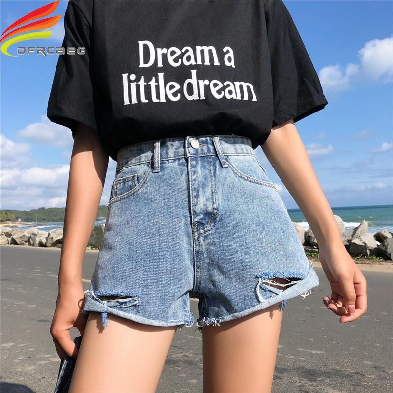 Streetwear High Waist Denim Loose   Shorts   For Women 2019 Summer New Arrivals Korean Style Fashion Hole Blue   short   jean femme