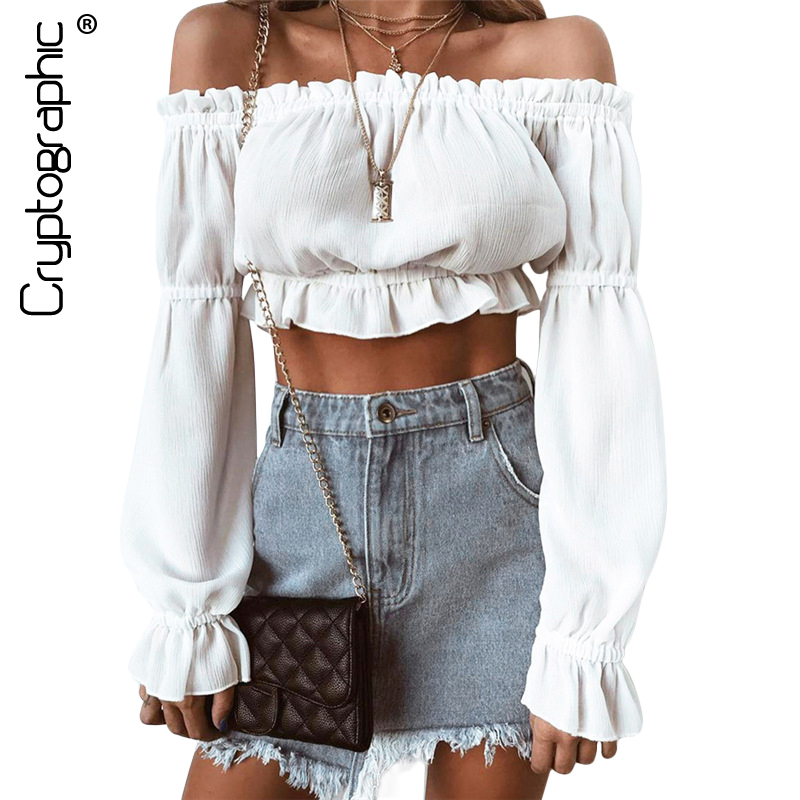 Cryptographic Casual 2018 summer white   blouse     shirt   women off shoulder top crop ruffles fashion beach women's   shirts   long sleeve