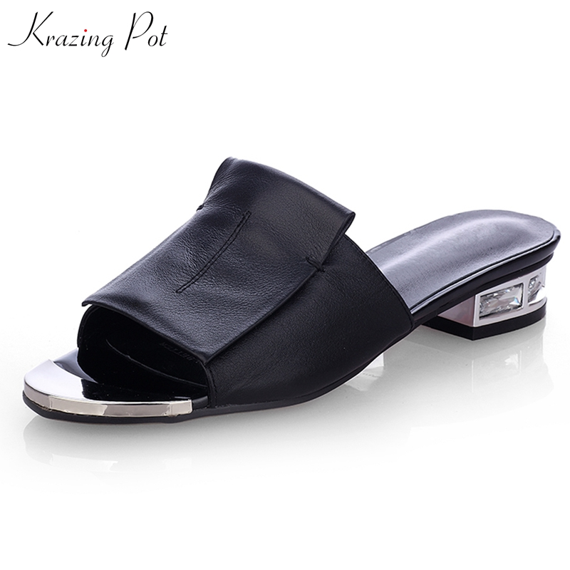 Krazing Pot 2019 fashion cow leather slip on crystal low heels flip flop women shallow preppy style summer beach sandals  L11Krazing Pot 2019 fashion cow leather slip on crystal low heels flip flop women shallow preppy style summer beach sandals  L11