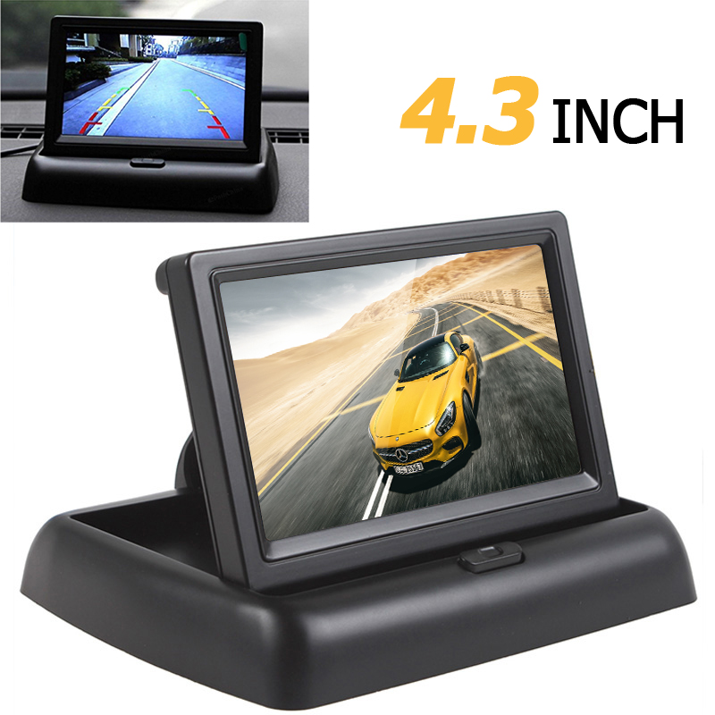 4.3 Inch Color TFT LCD HD Car Rear view Monitor Auto 4.3'' Rearview Backup Monitor Parking Assistance with 2CH Video Input eyoyo kj 708 7 inch hd tft lcd wired car monitors split quad monitor 4 channel video input full hd color image with sunshade