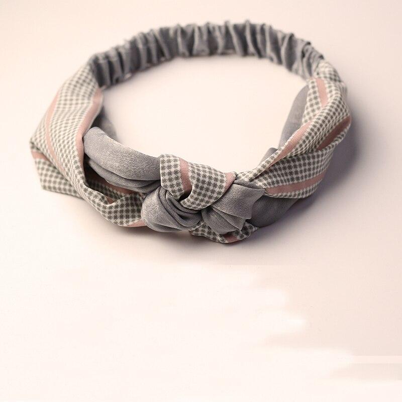 Elastische Sommer Frauen Plaid Bogen Headwear Breite Haar Clip Stirnband Geschenk Für Gilrfriend