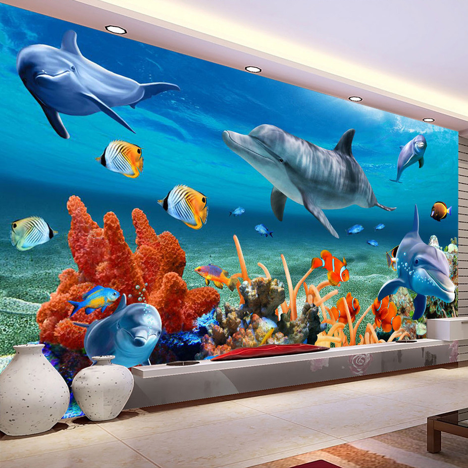 Aliexpresscom  Buy Custom 3D Mural Wallpaper For Kids Underwater Dolphin Fi -> Aquarium Design Mural