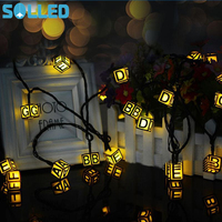 SOLLED 30Pcs Solar Power Rechargeable Letter LED Light String Square Cube IP65 Outdoor Christmas Party Decoration