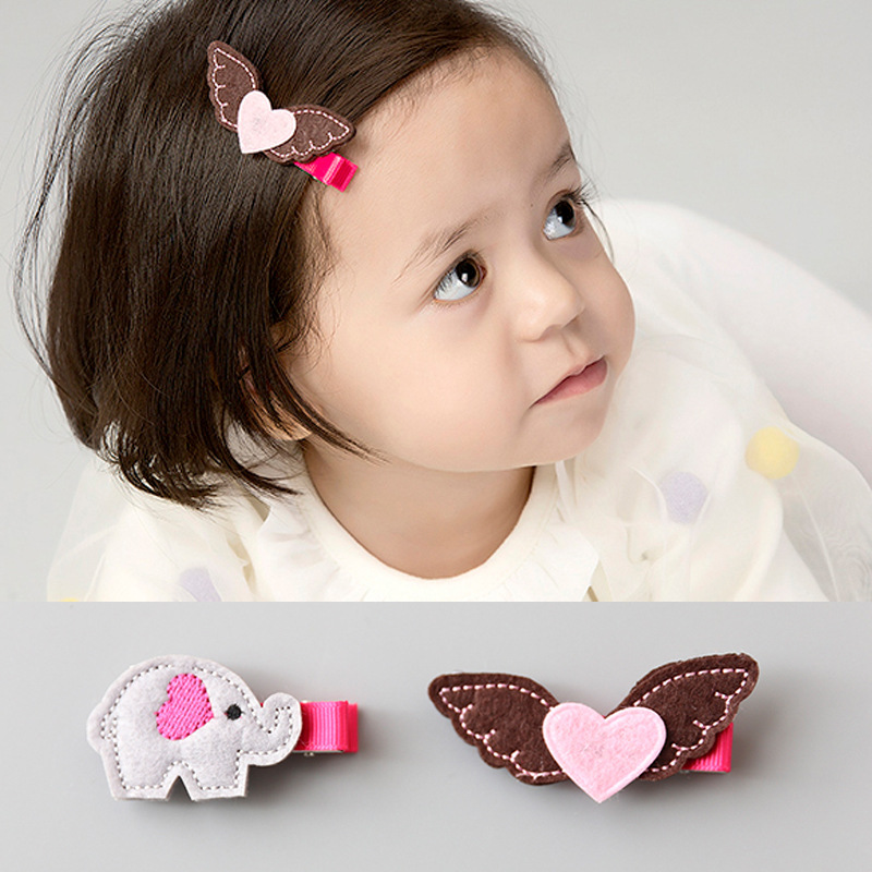 2pcs=1 lot Princess Elephant butterfly Cute Hair Clip Kids HairPins Cotton Hair Bows Grips HairTies Accessories