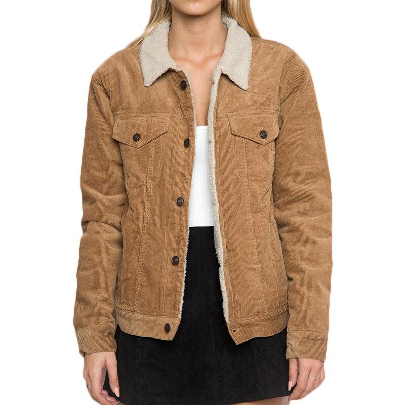 Hiver femmes Camel couleur velours côtelé veste à manches longues col rabattu veste manteau femme simple boutonnage basique femmes chaud manteau