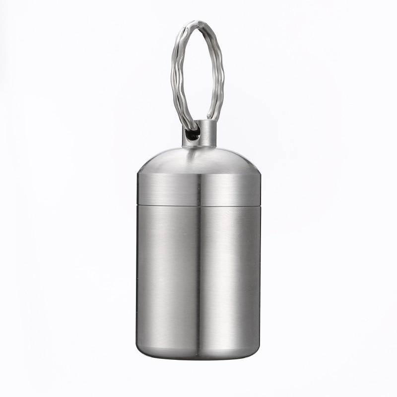 Waterproof Outdoor 304 Stainless Steel Bottle Keychain Hanging Bottle Mini Small Pot Emergency Pill Bottle Seal Box