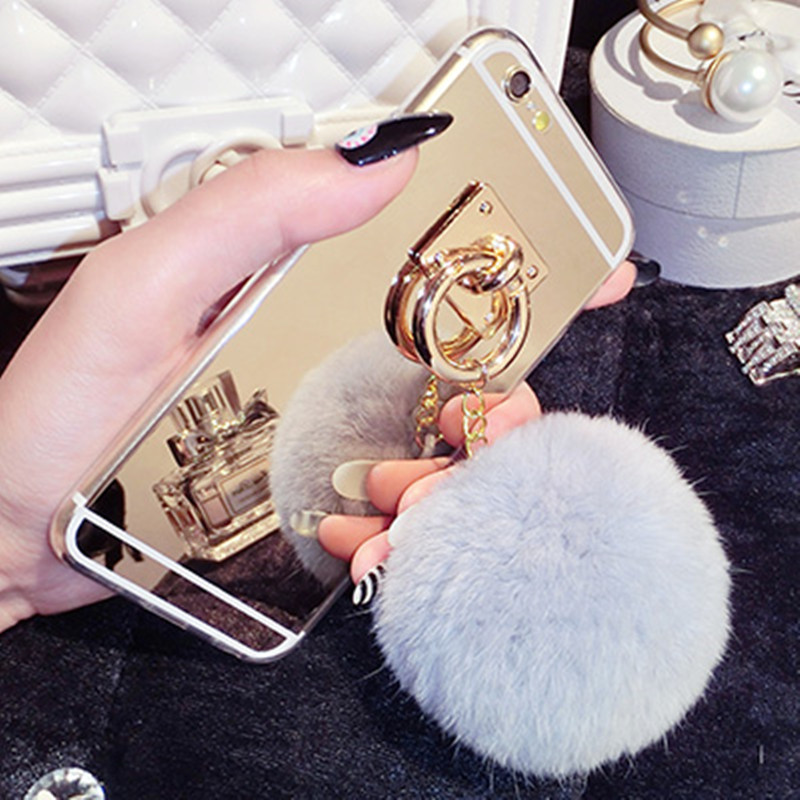 newest bc5a1 d8254 US $4.93 49% OFF|Ayeena Luxury Fashion Rabbit fur pompom Fluffy ball Chain  trimming Mirror Phone case for iphone 6 6 plus coverring TPU back case-in  ...