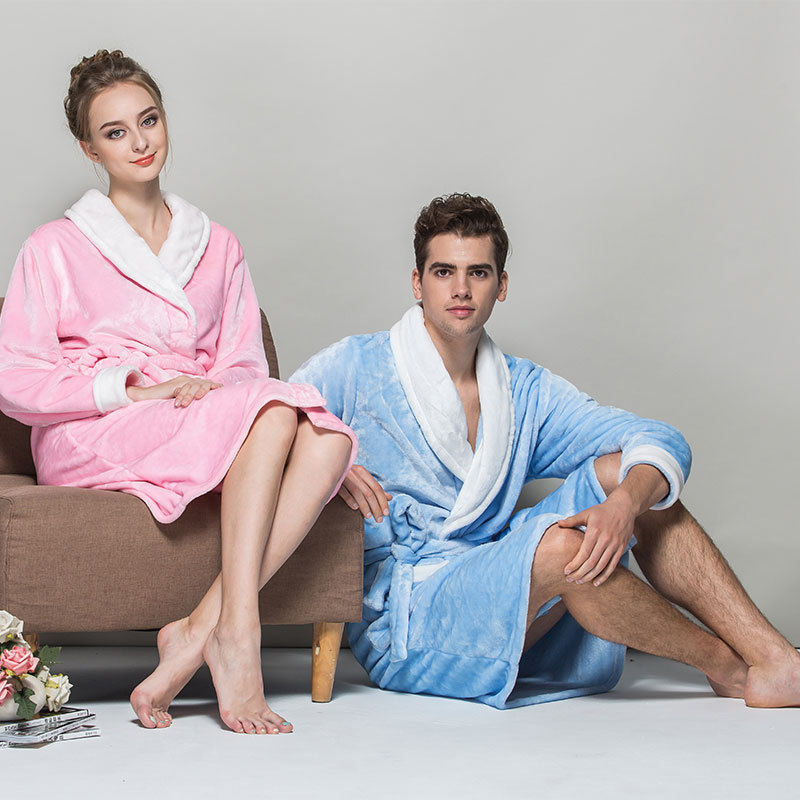 Top Soft Quality Flannel Couples long sleeve Robe Autumn Winter Women Men Bath Robes Nightgown Leisurewear Pink Robe