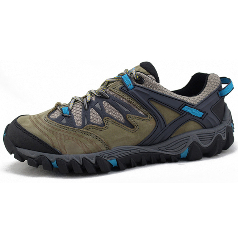 ФОТО Excellent Outdoor Genuine Leather Man's Hiking Shoes Comfortable Sport Style Antislip Male Climbing Shoes