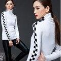 De las mujeres Suéter de manga larga Que Basa La Camisa Otoño Camisa A Cuadros Cuello Alto Estiramiento Chaqueta Suéter de Punto
