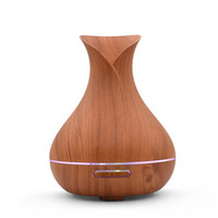 400ml Wood Grain Air Humidifier ABS Ultrasonic Aroma Essential Oil Diffuser 7 Colors LED Lights Humidifiers