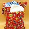 Saco de Carrinho De bebê À Prova D' Água Reutilizáveis PUL Impresso Fralda Molhada Bag Duplo Bolso 30*40 CM saco de Viagem para bebês