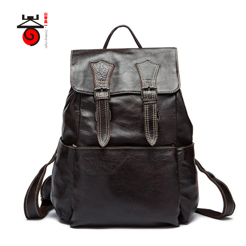 Senkey style 2017 Genuine leathe High Quality business bag men travel backpack Fashion document real leather Casual Laptop bagSenkey style 2017 Genuine leathe High Quality business bag men travel backpack Fashion document real leather Casual Laptop bag