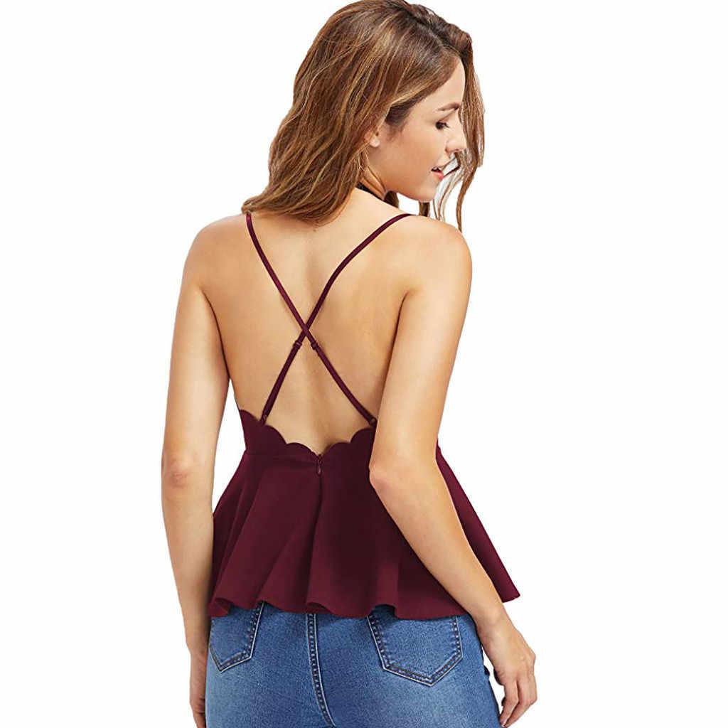 סקסי חולצות נשים V צוואר ללא משענת שרוולים רצועת טנק חולצה מסולסל Peplum למעלה חולצה חולצה בגדי קיץ החוף