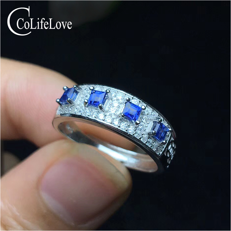 CoLife Jewelry silver sapphire ring for woman 2.5 mm * 2.5 mm natural Cornflower Blue sapphire silver ring gift for woman