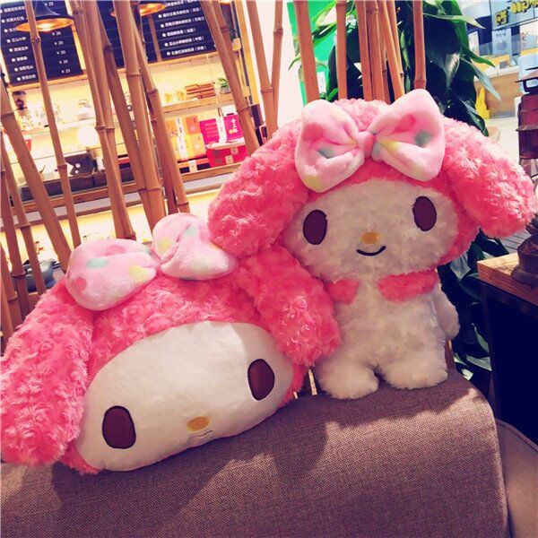 ФОТО 1pc color point my melody plush doll coral fleece rest office cushion + blanket stuffed toy romantic gift for baby