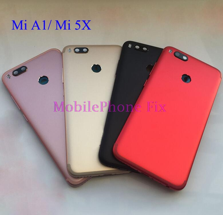 For Xiaomi Mi A1 MiA1 MI 5X Metal Battery Housing Back Cover Door Case + Camera Lens Cover+ Flashlight