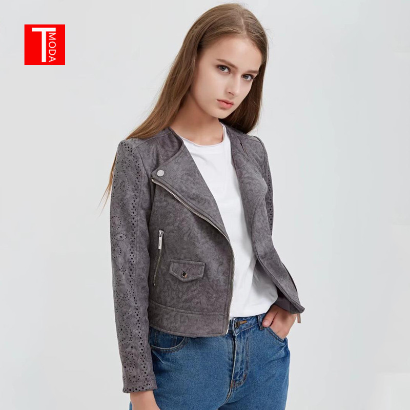 2018 Women Autumn Winter Suede Faux Leather Jackets Lady Fashion Hollow Out Motorcycle Coat Biker Gray Lace Outerwear