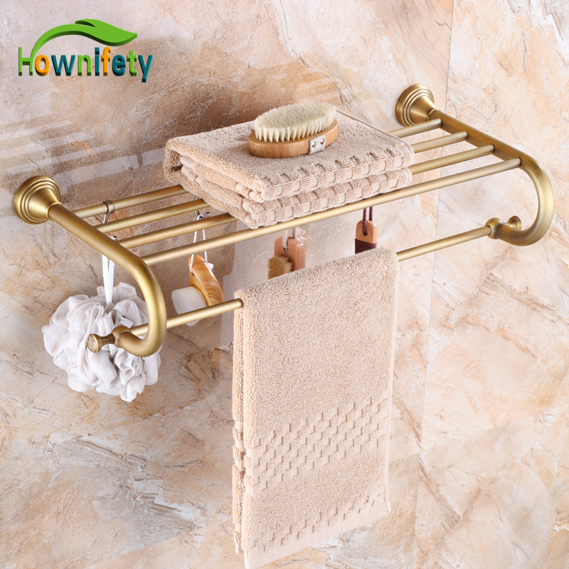 Contemporary Antique Brass Bathroom Stainless Steel Towel Rack Wall Mount Double Towel Bar new arrival bathroom towel rack luxury antique copper towel bars contemporary stainless steel bathroom accessories 60cm k301