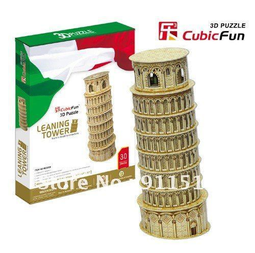 Italy Leaning Tower of Pisa 3D Puzzle jigsaw puzzles 3D Paper Model puzzels for children online Free shipping