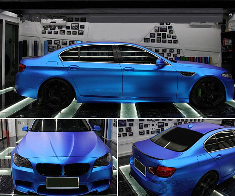 Blue Auto Car Styling Body Electro Coating Change Color Film Chrome Plating New Satin Chrome Vinyl Wrap Sticker Decal 1.52X5M