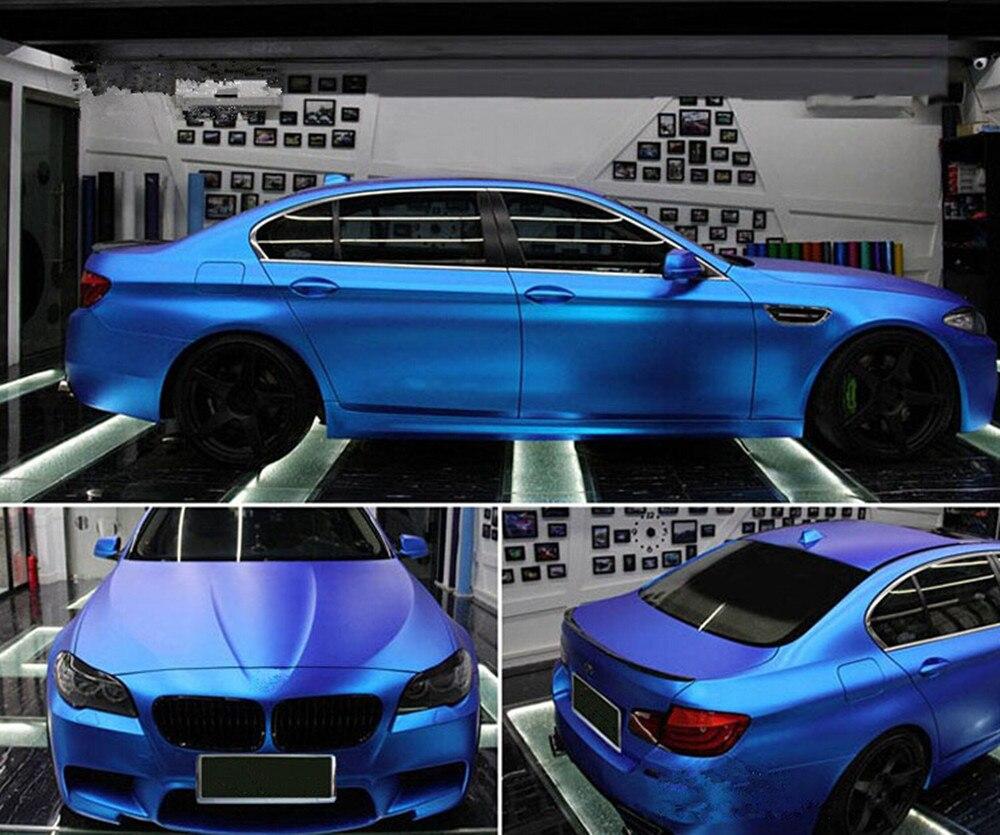 Bleu Auto Car Styling Corps Électro Revêtement Changer la Couleur du Film Chrome Placage Nouveau Satin Chrome Vinyle Wrap Sticker Decal 1.52X5 m