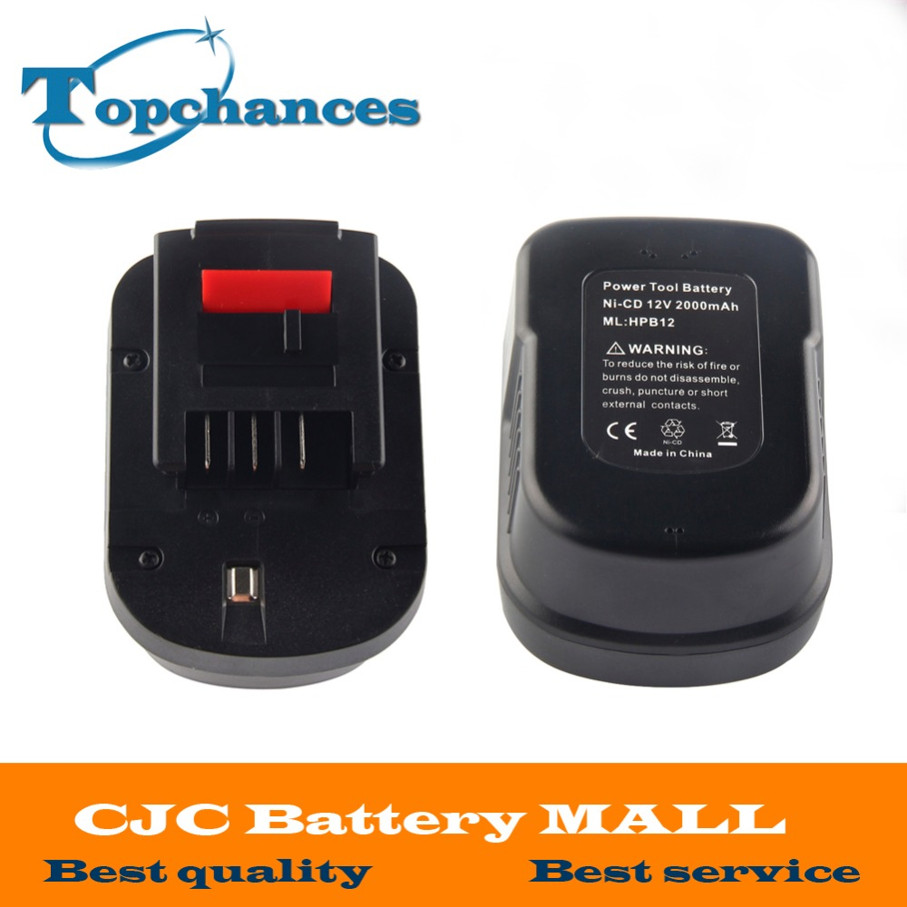 1X High quality 12V 2000mAh Replacement Power Tool Battery NI-CD For Black&Decker A12, A12-XJ, A12EX,A1712 FS120B, FSB12, HPB12