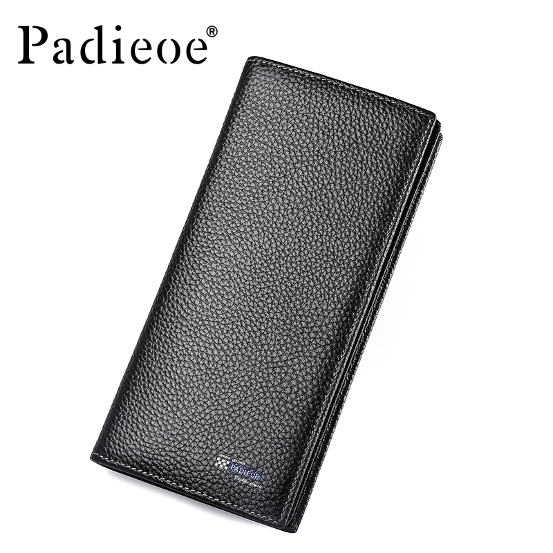 Padieoe fashion men wallets genuine leather long credit card wallet purse business slim cowhide wallet bvp business dress wallet long type men high end daily pack money credit card organizer 100% genuine cowhide leather j40