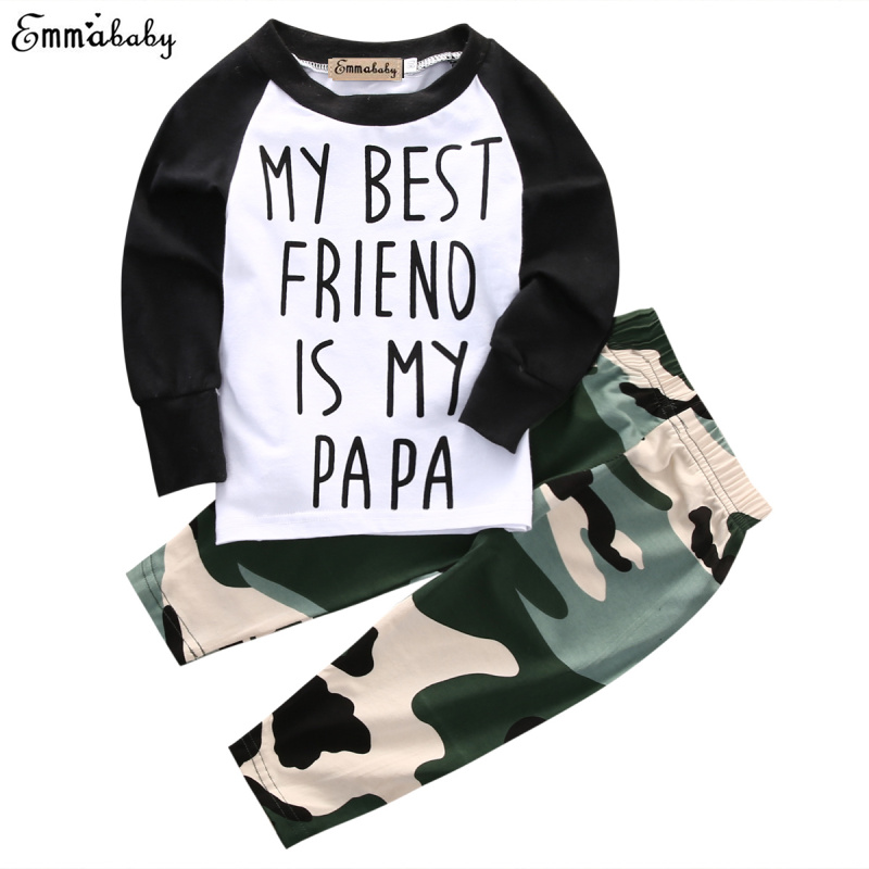 2pcs Set 2018 Newborn Infant Baby Boy Clothes Girls Patchwork T-shirt My Best Friend Tops+Camouflage Legging Outfits image