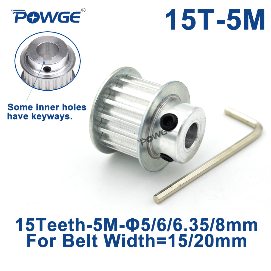 POWGE Arc 15 Teeth HTD 5M Timing Pulley Bore 5/6/6.35/8/10/12mm for Width 15/20mm <font><b>HTD5M</b></font> Synchronous Belt gear pulley 15Teeth 15T image