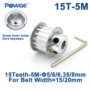 POWGE Arc 15 Teeth HTD 5M Timing Pulley Bore 5/6/6.35/8/10/12mm for Width 15/20mm HTD5M Synchronous Belt gear pulley 15Teeth 15T(China)