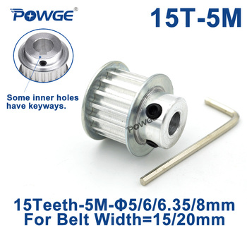 POWGE Arc 15 Teeth HTD 5M Timing Pulley Bore 5/6/6.35/8/10/12mm for Width 15/20mm HTD5M Synchronous Belt gear pulley 15Teeth 15T timing pulley 5m 30t bore 6 6 35 8 10 12 12 7 14 15 16 17 19 20 mm pulley slot width 16 21 mm for width 15 20mm 5m timing belt