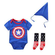 Baby Boy Cotton Romper White Blue Captain America Hero Costume Newborn Clothes Tricorne Hat Sock Romper 3 Pcs Sets Girl Jumpsuit(China)