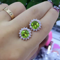 B 925 sterling silver with natural peridot earrings