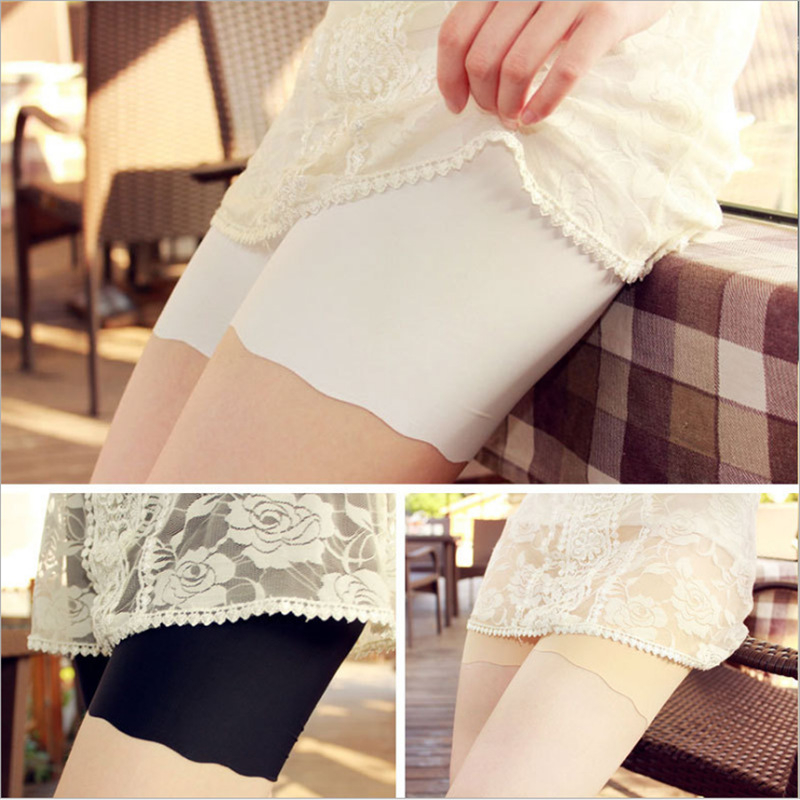 2018 Hot Selling Female Sexy Women High Waist Ice Silk Briefs Seamless Elastic Pants Short Leggings White/Black/Skin