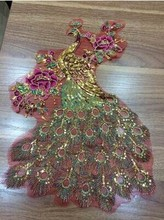 5Pcs 28*40CM Peacock Peony Sequin Embroidery Gauze Cloth Cheongsam Decoration Large Patch Applique African Lace  Accessories Diy