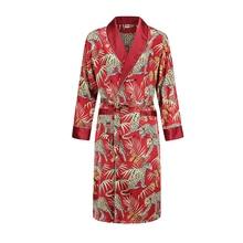 Hot Nightgown Men's summer thin bathrobe Tiger nightgown Loose wedding robesilky long sleeve Sleeprobe Plus Size home wear