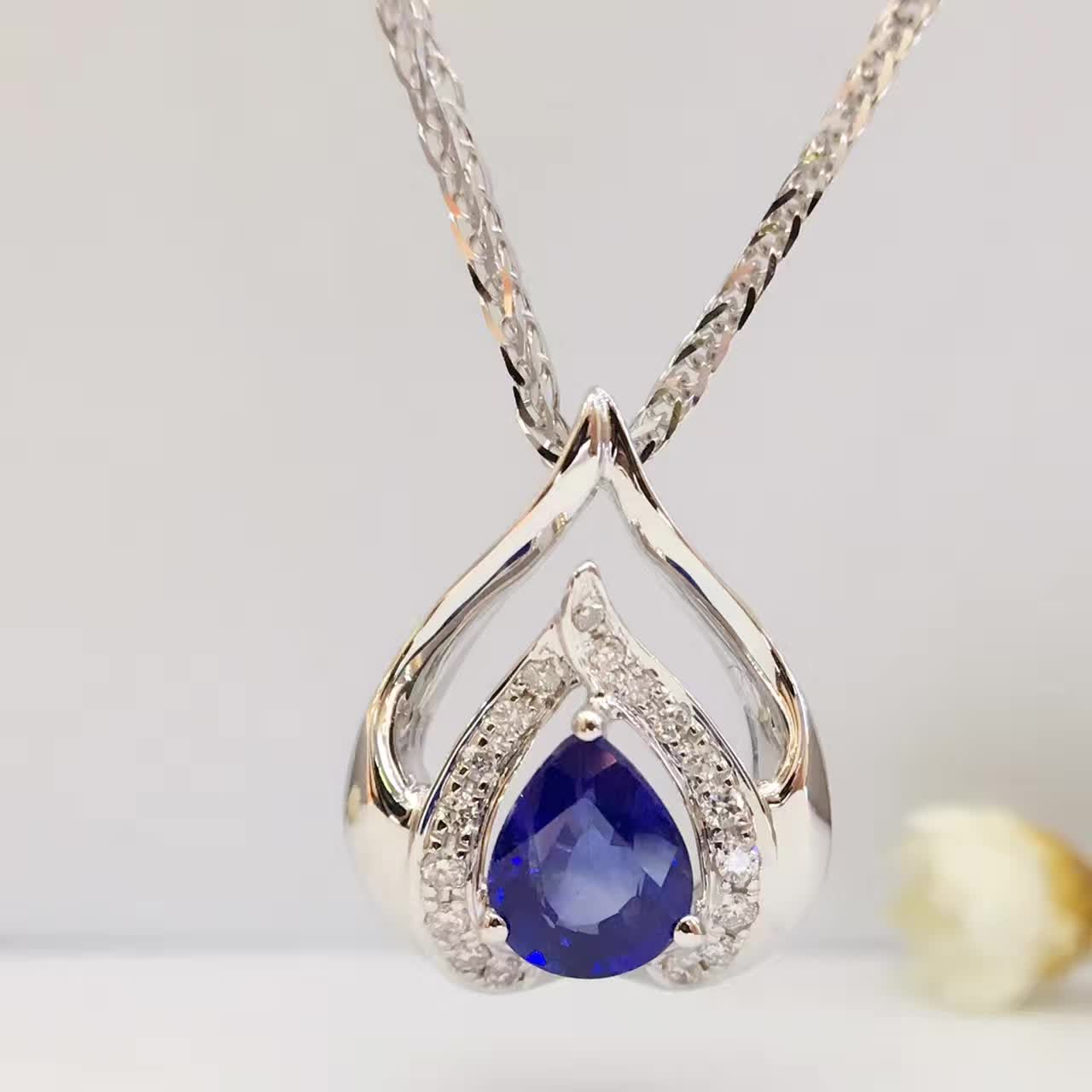 0 70ct 0 083ct 18K White Gold Natural Sapphire and Pendant font b Necklace b font