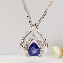 0.70ct+0.083ct 18K White Gold Natural Sapphire and Pendant Necklace Diamond inlaid 2016 Factory Direct New Arrival Fine Jewelry